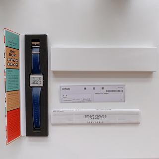 エプソン(EPSON)の廃盤レア スマートキャンバス スヌーピー スムースレザー 紺 腕時計(腕時計(デジタル))