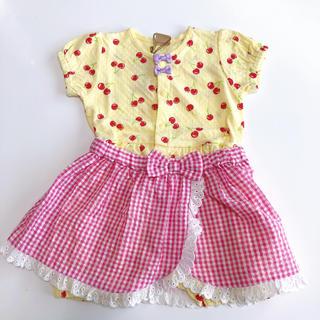 petit main - 新品 プティマイン ロンパース 70 女の子 半袖