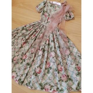 ピンクハウス(PINK HOUSE)のカネコイサオ ローズ柄ドレス(ミディアムドレス)