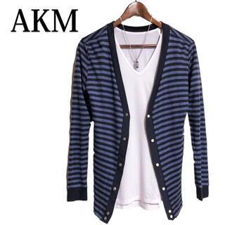 エイケイエム(AKM)のAKM ボーダーカーディガン 羽織りもの 日本製 カーデガン 青紺色(カーディガン)