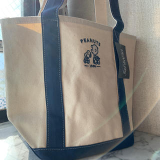 SNOOPY - スヌーピー  トートバッグ  ランチバッグ ブルー 刺繍