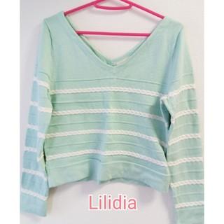 リリディア(Lilidia)のリリディア 春コットンニット ライムグリーン マリン(ニット/セーター)