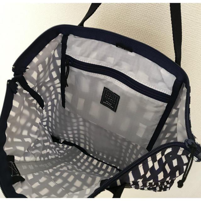 mina perhonen(ミナペルホネン)のミナペルホネン×ポーター 2WAY TOTE BAG sora check 美品 レディースのバッグ(リュック/バックパック)の商品写真