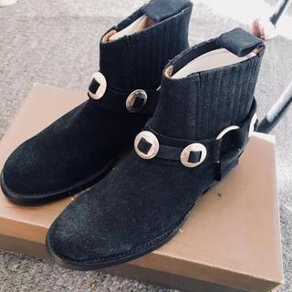 スコットクラブ(SCOT CLUB)の定価3万 新品 カミナンド  ショートリングブーツスエード ブラック 22cm(ブーツ)