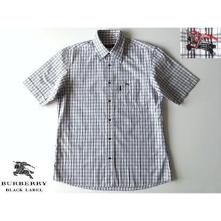バーバリーブラックレーベル(BURBERRY BLACK LABEL)の美品 希少 バーバリーブラックレーベル ホースロゴ刺繍 チェックシャツ 2 春夏(シャツ)