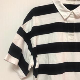 ジーユー(GU)のGU ポロシャツ ワンピース ボーダー(ポロシャツ)