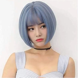 [超美品]レディースウィッグアッシュブルー耐熱フルウィッグ人工頭皮(ショートカール)