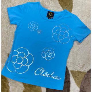 CLATHAS - 新品未使用☆クレイサス Tシャツ 38M ブルー ラインストーン カメリア