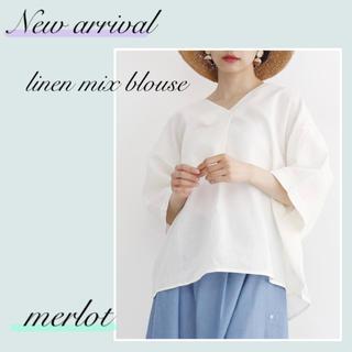 merlot - 【新品】メルロー 麻混Vネックブラウス 白 フリーサイズ 春夏