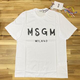 エムエスジイエム(MSGM)の新品 MSGM エムエスジーエム メンズ ロゴTシャツ クルーネック ホワイト白(Tシャツ/カットソー(半袖/袖なし))