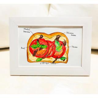 トマトとバルサミコのオープンサンド【原画 水彩画】(雑貨)