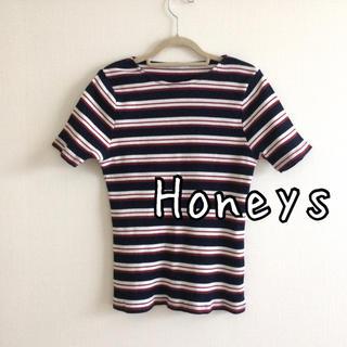 HONEYS - 【美品】Honeys ハニーズ リブニット 赤白紺3色ボーダー