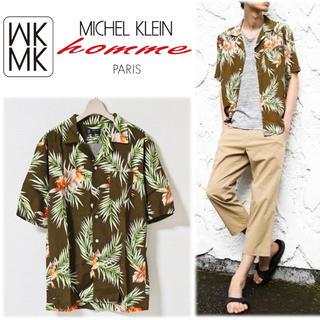 エムケーミッシェルクランオム(MK MICHEL KLEIN homme)の《ミッシェルクランオム》新品 フラワーレーヨンアロハシャツ 半袖 48(L)(シャツ)