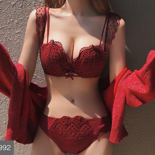 AMO'S STYLE - ノンワイヤー 刺繡 レース 花柄 下着 ブラ ショーツ