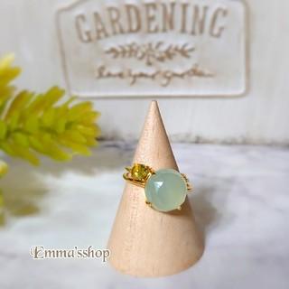 天然石AAA大粒シーブルーカルセドニーのリング、指輪silver925ゴールド(リング)
