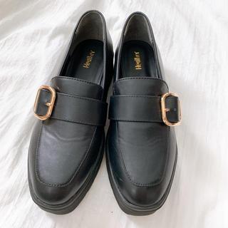 ヘザー(heather)のレディース ローファー 黒 革靴(ローファー/革靴)
