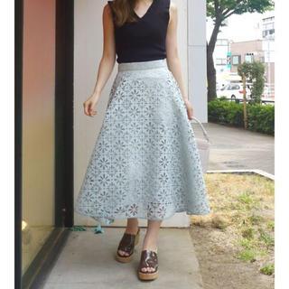 MERCURYDUO - 美品 MERCURYDUO ヒートカットフレアスカート Sサイズ ライトグリーン