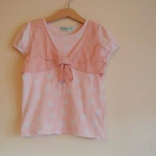 ハッカキッズ(hakka kids)のハッカキッズ♡130半袖シャツピンクに白ドット(Tシャツ/カットソー)
