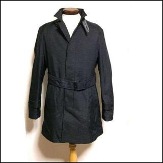 秋冬 メンズ ベルト付 ロングコート コート L 濃灰 Y1902(ステンカラーコート)