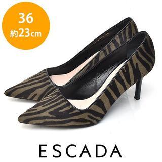 エスカーダ(ESCADA)の美品❤エスカーダ ゼブラ ハラコ パンプス 36(約23cm)(ハイヒール/パンプス)