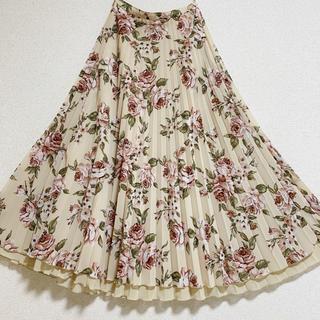 INGEBORG - インゲボルグ  プリーツスカート 花柄 ベージュ ローズ 薔薇 ピンクハウス