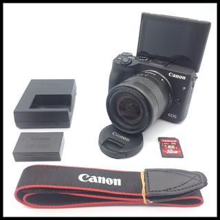キヤノン(Canon)のWi-Fi】 CANON EOS M3 ブラック 標準レンズ SDカード付(ミラーレス一眼)