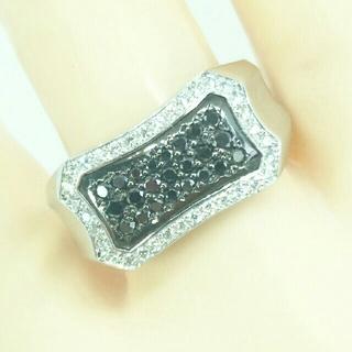Pt900/K18  ブラックダイヤモンド  メンズレ ディース リング(リング(指輪))
