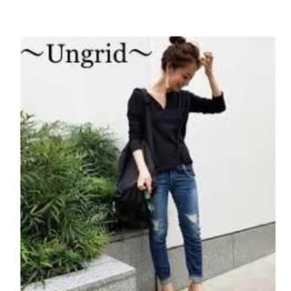 Ungrid - Ungrid スリットネックロングスリーブTee