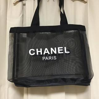 CHANEL - ブラックメッシュ  トートバッグ両面ロゴ入り  CHANEL ノベルティー