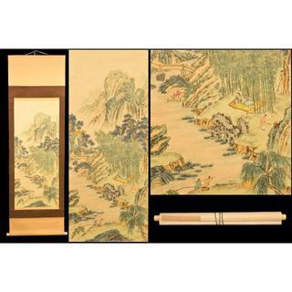彩色山水 手巻き画絵巻 在銘 画軸 絹本 書軸 お寺 肉筆 立軸 WWKK172(書)