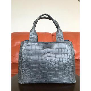 クロコダイル(Crocodile)の綺麗目 人気 JRA公認 マットクロコダイル ハンドバッグ ブルー グレー(ハンドバッグ)