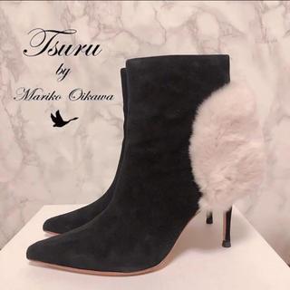 TSURU by Mariko Oikawa - 美品 完売 Turu 定価¥35,640 ファー ブーツ ショートブーツ 23㎝