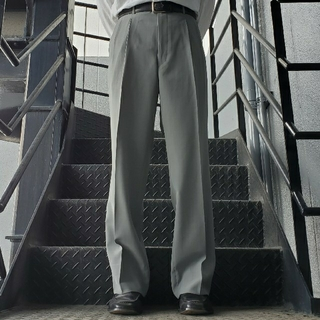 ジョンローレンスサリバン(JOHN LAWRENCE SULLIVAN)のヴィンテージ スラックス トラウザー ワイドパンツ グリーングレー(スラックス)