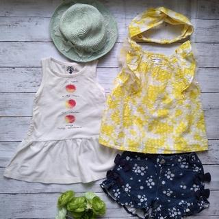 【4点セット♡100】ノースリーブカットソー チュニック ショートパンツ 帽子