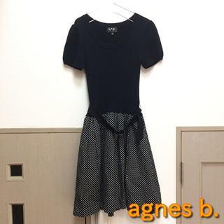 agnes b. - 【アニエスベー】腰ベルト付き半袖ワンピース ブラック フリーサイズ