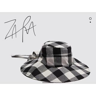 ザラ(ZARA)のザラ ギンガムチェック柄 バケット ハット 新品未使用品(ハット)