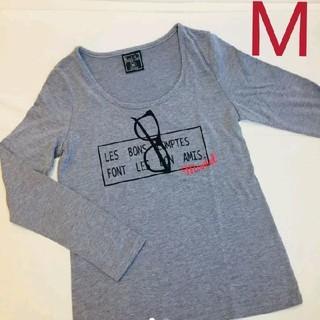 シマムラ(しまむら)のロンティ ロンT 長袖 グレー プリント めがね カジュアル(Tシャツ(長袖/七分))