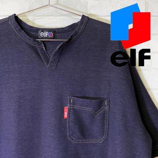 エルフ(elf)の【elf】エルフ デニム風デザイン スリットネック Tシャツ バイカー/2L(Tシャツ/カットソー(半袖/袖なし))