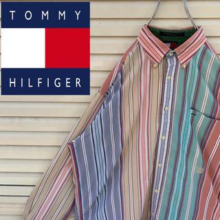 トミーヒルフィガー(TOMMY HILFIGER)のトミーヒルフィガー ボタンシャツ マルチストライプ  90s ゆるだぼ 激レア(シャツ)