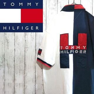 トミーヒルフィガー(TOMMY HILFIGER)の【超激レア】トミーヒルフィガー☆バック刺繍ビッグロゴ入りマルチカラーポロシャツ(ポロシャツ)