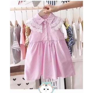 キッズ 女の子 ノースリーブ ワンピース フリル 子供服 ピンク 100cm
