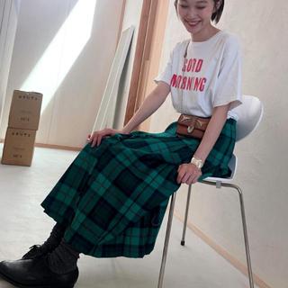 アンクルージュ(Ank Rouge)のグリーン チェックスカート(ロングスカート)