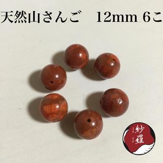 天然 山さんご ビーズ 12mm 6こ(各種パーツ)