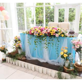 結婚式 高砂 装飾 チュール(ウェディングドレス)