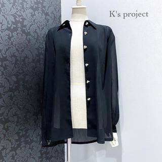 シースルー ◆ シアー シャツ ブラウス ブラック パールボタン オーバーサイズ(シャツ/ブラウス(長袖/七分))
