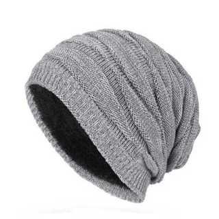 グレー メンズ 裏ボア付き ボア ニット帽 厚手 ニットキャップ 帽子 ワッチ(ニット帽/ビーニー)