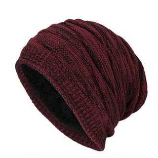 ワインレッド メンズ 裏ボア付き ボア ニット帽 厚手 ニットキャップ 帽子(ニット帽/ビーニー)
