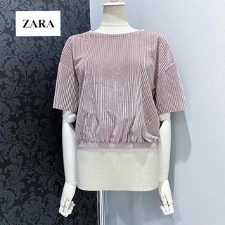ザラ(ZARA)のzara ザラ ◆ くすみピンク 半袖 リブ カットソー トップス (カットソー(半袖/袖なし))
