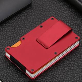 赤 マネークリップ 付き カードケース カードホルダー レッド 財布 名刺入れ(マネークリップ)