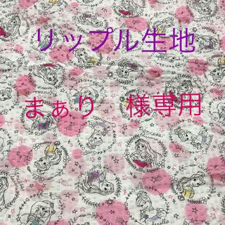 ディズニー(Disney)の国産 リップル生地 ♡ディズニープリンセス♡ホワイト(生地/糸)